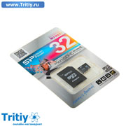 Флеш карта microSDHC Silicon Power 32Gb Class4 + adapter SD