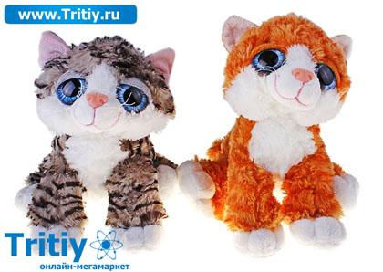 """М игрушка кошка """" Соня"""" полосатая глазастик два цвета 25*30*10"""